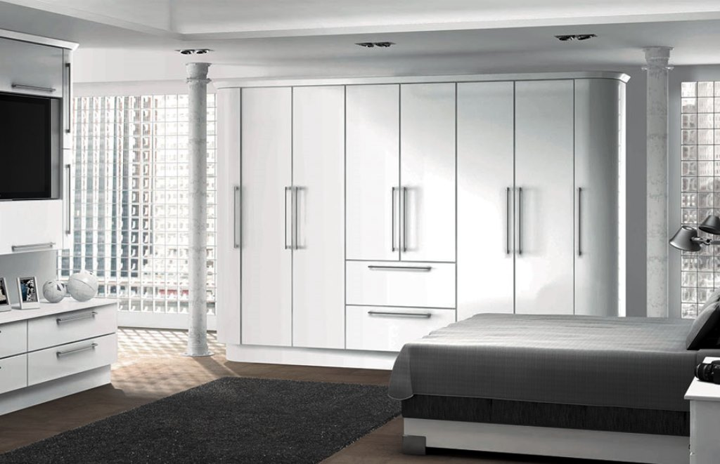 Glossy White Wardrobe Art Wood 05 فن و هنر