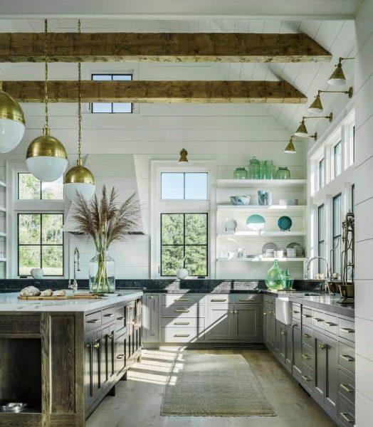 آشپزخانه مدرن با ترکیب روستیک