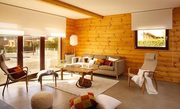 اتاق با دیوار چوبی