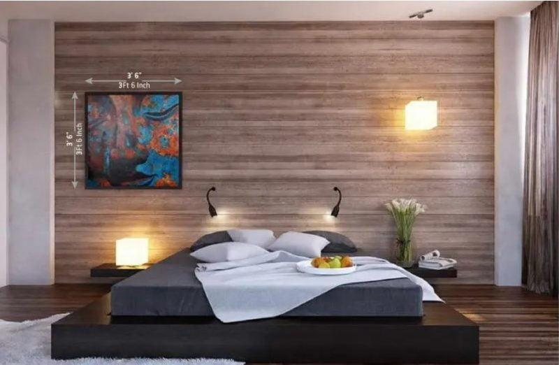 اتاق خواب دیوار پوش چوبی