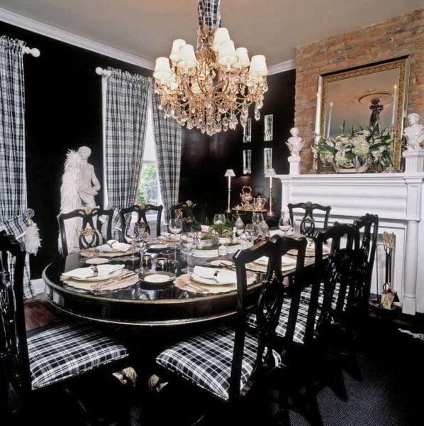 اتاق غذاخوری سیاه و سفید