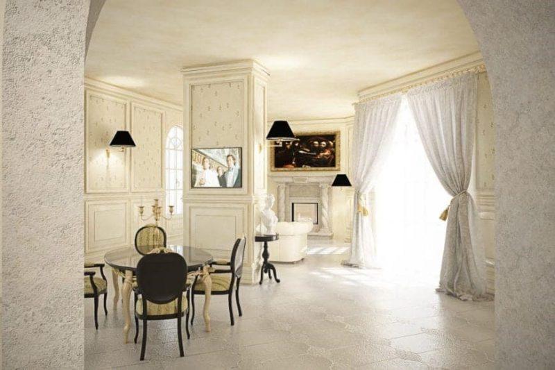 اتاق ناهار خوری بزرگ سفید رنگ