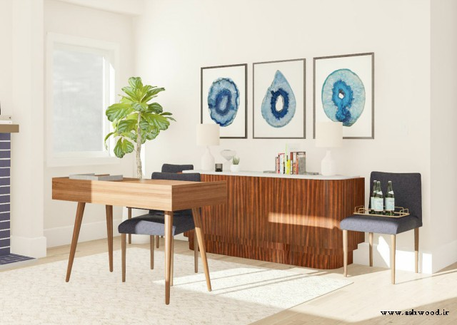 دکوراسیون اتاق کار , میز کار چوبی