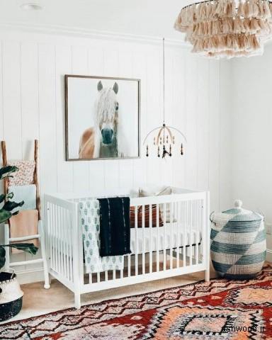 دکوراسیون اتاق نوزاد , تخت و گهواره چوبی