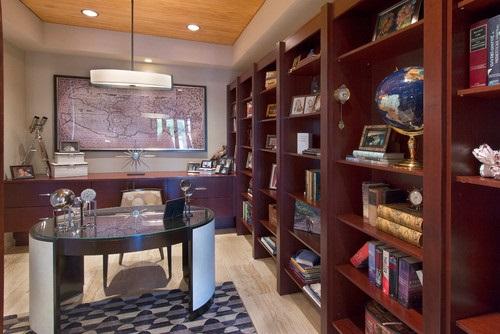 قفسه بندی و کتابخانه و میز کار