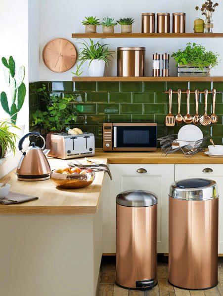 استفاده از لهجه های فلزی برای آشپزخانه سبک کافه