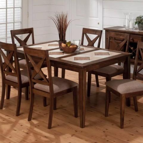 میز ناهارخوری با صفحه چوب و سرامیک