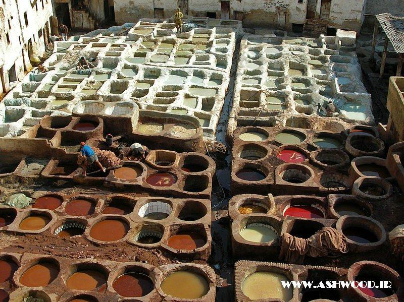برنزه کردن چرم در فس ، مراکش