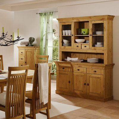 دکوراسیون چوبی میز کنسول و ویترین چوبی