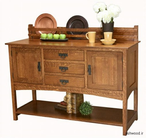 بوفه ویترین و میز کنسول چوبی