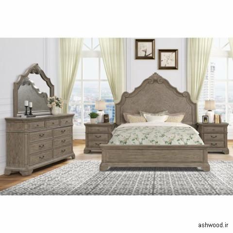 تخت خواب لوکس چوبی منبت کاری شده , سرویس خواب چوبی سلطنتی