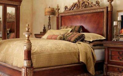 ایده و مدل تخت خواب چوبی منبت کاری شده و لوکس