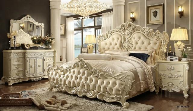 تخت خواب لوکس چوبی منبت کاری شده , سرویس خواب چوبی سلطنتی, تخت خواب سلطنتی جدید