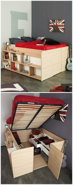 تخت خواب مدرن چوبی با انباری