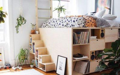 طراحی هوشمندانه و ابتکاری تختخواب مدرن چوبی با قفسه