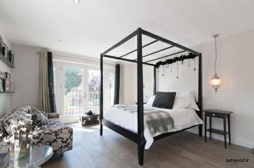 تخت خواب چوبی مشکی