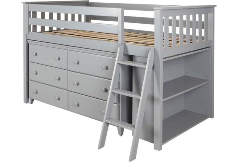 تخت خواب دو طبقه چوبی زیر انباری