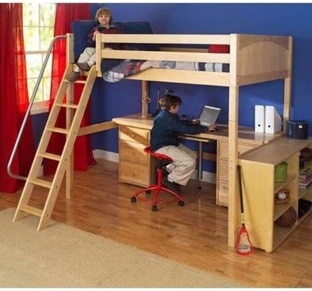 تخت خواب دو طبقه چوبی میز تحریر