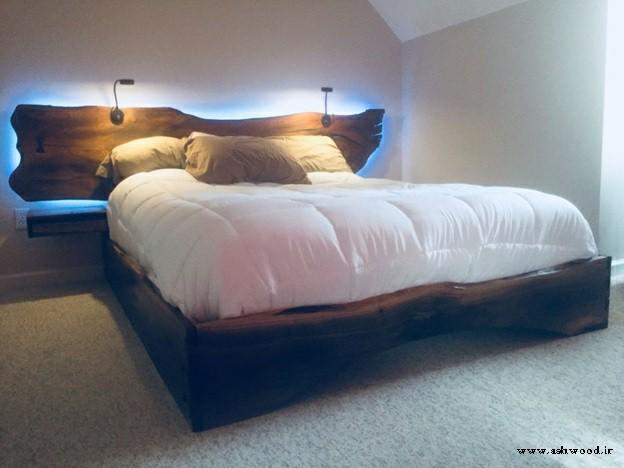 ایده های قاب های تخت خواب با چوب طبیعی