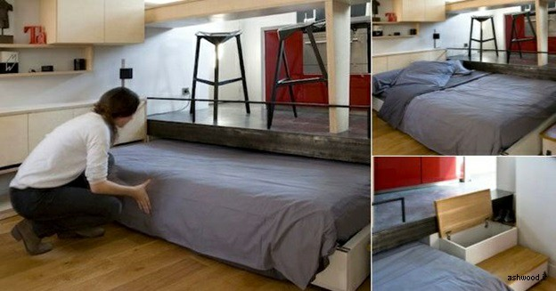 تخت خواب چوبی کوچک