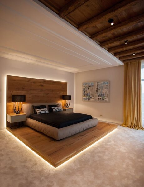 تخت سکویی با چراغ های LED