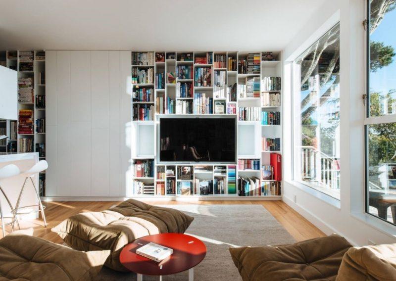 تلویزیون پشت قفسه کتاب پنهان شده
