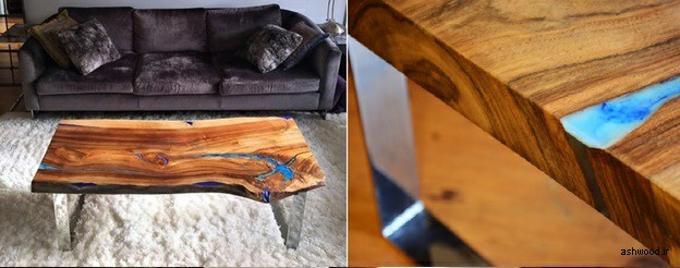 34 ایده جذاب از میز های جلو مبلی چوبی با طرح های طبیعی, اسلب چوب