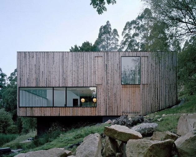 خانه ای با روکش چوبی