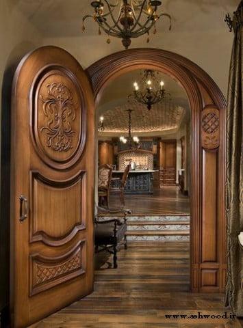 ایده و مدل جدید درب ورودی چوبی ساختمانی , درب کلاسیک و لوکس چوبی