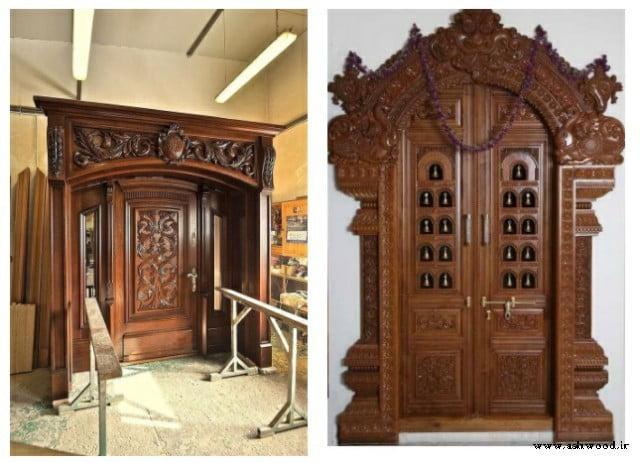 ساخت درب سفارشی منبت کاری, درب ورودی لوکس چوبی