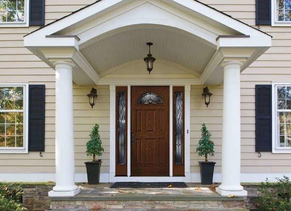 درب چوبی با شیشه تزئینی با قاب