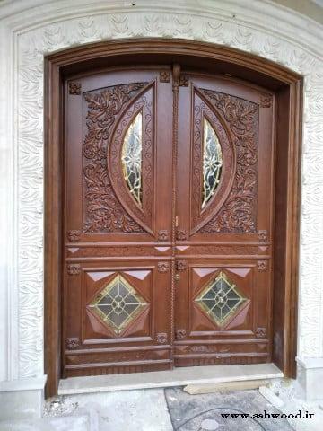 درب چوبی منبت کاری شده , درب ورودی , درب تمام چوب