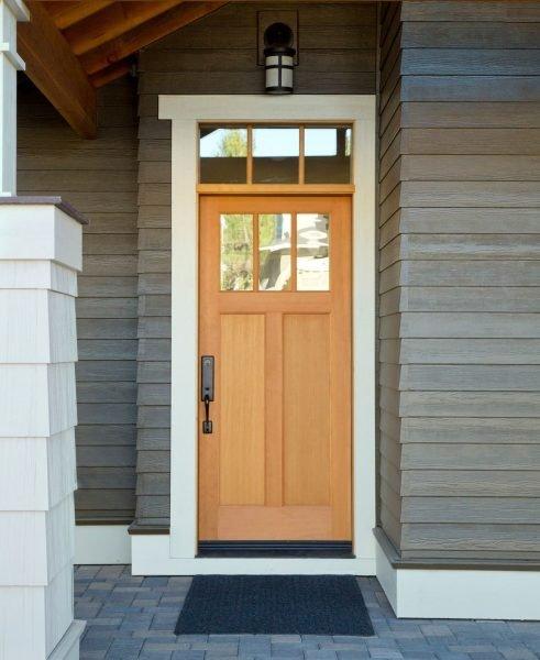 درب چوبی و شیشه ای