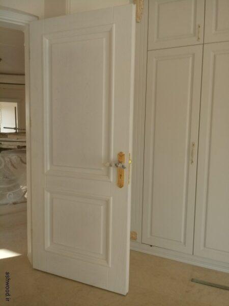 درب چوبی روکش بلوط رنگ وایت واش