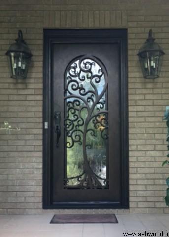درب چوب و فرفورژه ورودی ساختمان , درب تمام چوب , مدل درب ورودی لابی