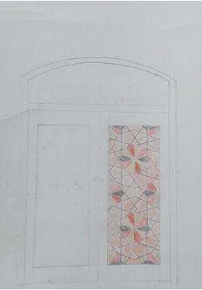 طرح درب گره چینی مدرسه و مسجد قدیم سپهسالار