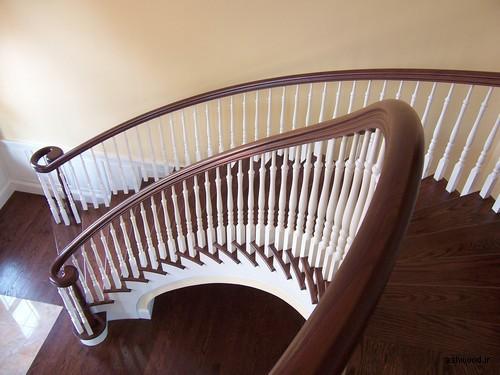 دست انداز پله خم چوب , هندریل قوس دار پله, پله پیچ دوبلکس, نرده پله گرد