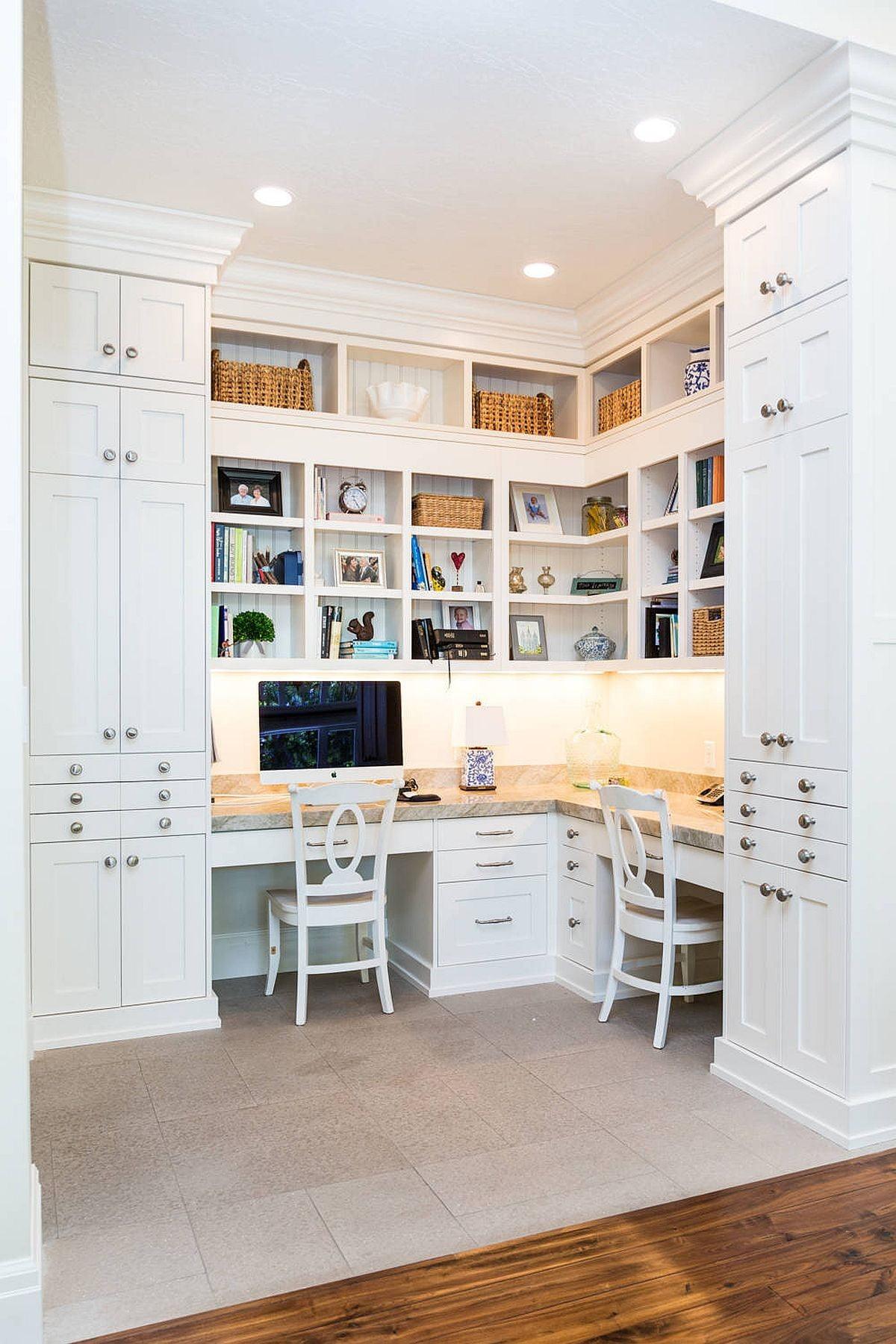 ایده های دکوراسیون چوبی برای دفتر کار خانگی کوچک برای دو نفر !