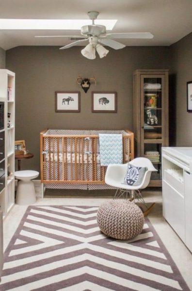 دکوراسیون اتاق کودک با دیوارهای قهوه ای