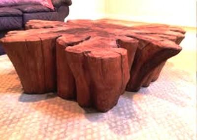 دکوراسیون روستیک , میز قهوه خوری تنه درخت 09