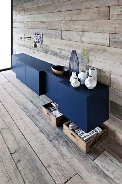 دکوراسیون چوبی آبی رنگ