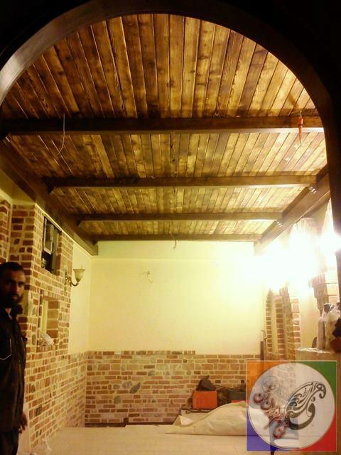 سقف چوبی دکوراسیون رستوران سنتی