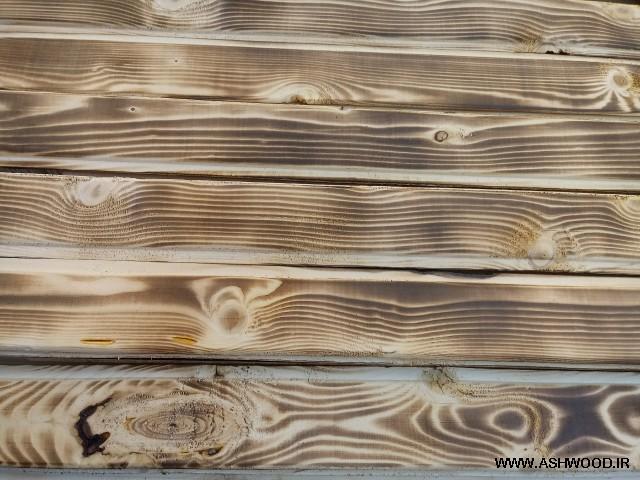 چوب سندبلاست , سندبلاست چوب کاج روسی بوسیله آتش و فرچه سیمی