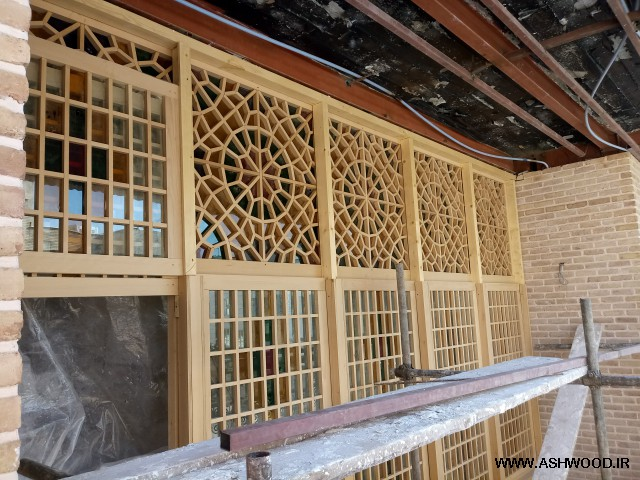 درب و پنجره چوبی گره چینی , پنجره گره چینی شیشه رنگی, پنجره گره چینی چوبی