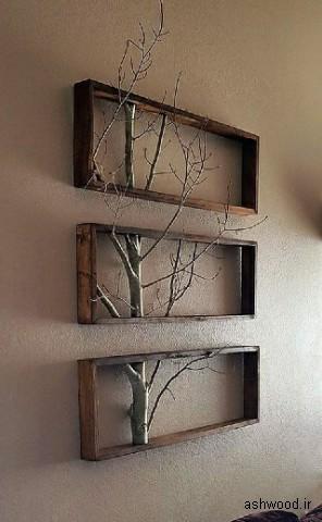 شلف دیواری با شاخه های درخت تزئینی