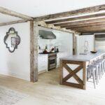 اجرای تیر چوبی مناسب سقف آشپزخانه , پیشخوان چوب روستیک