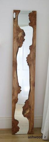 آینه چوبی ساخته شده از اسلب چوب طبیعی
