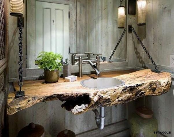 صفحه میز چوبی ساخته شده از تنه درخت