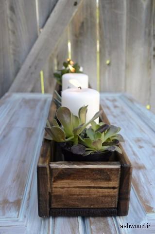 گلدان چوبی و جایی برای ساکلنت