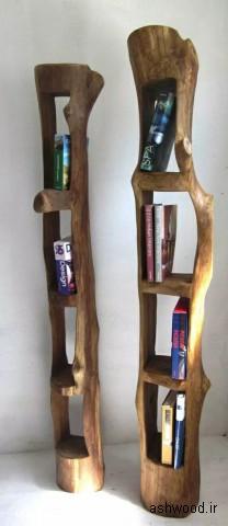 قفسه چوبی برای کتاب و لوازم تزئینی